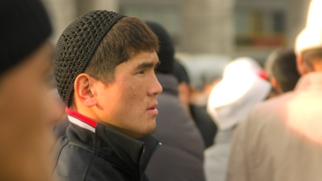 Kyrgyz Muslim after performing Eidul Adha prayer