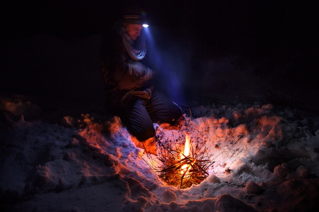 learning some tips on fire making in the snow from the master!