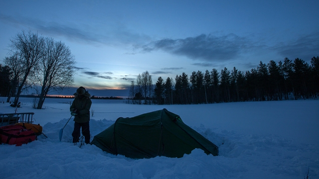 camping in the Swedish Lapland somewhere 60km before the Arctic Circle. Temperature was down to -31c at night