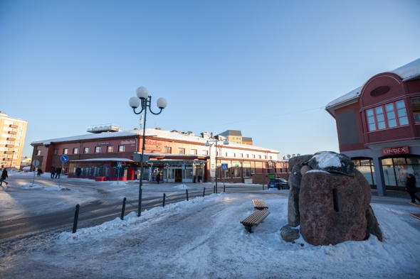 the centre of Kiruna. Small and peaceful town