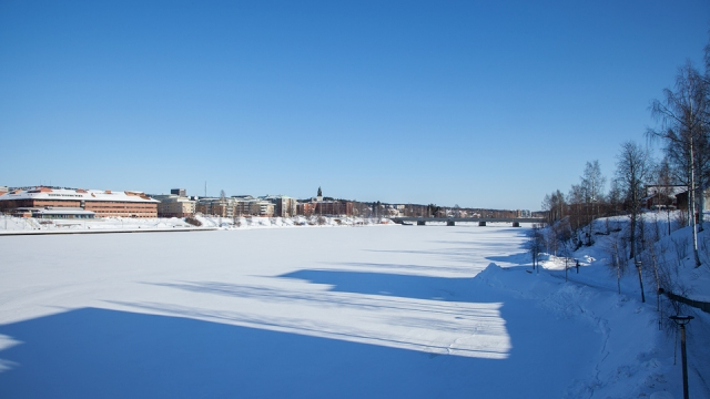 the frozen river in Skelleftea