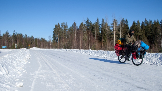 ice skating with my bicycle on my way to Lulea