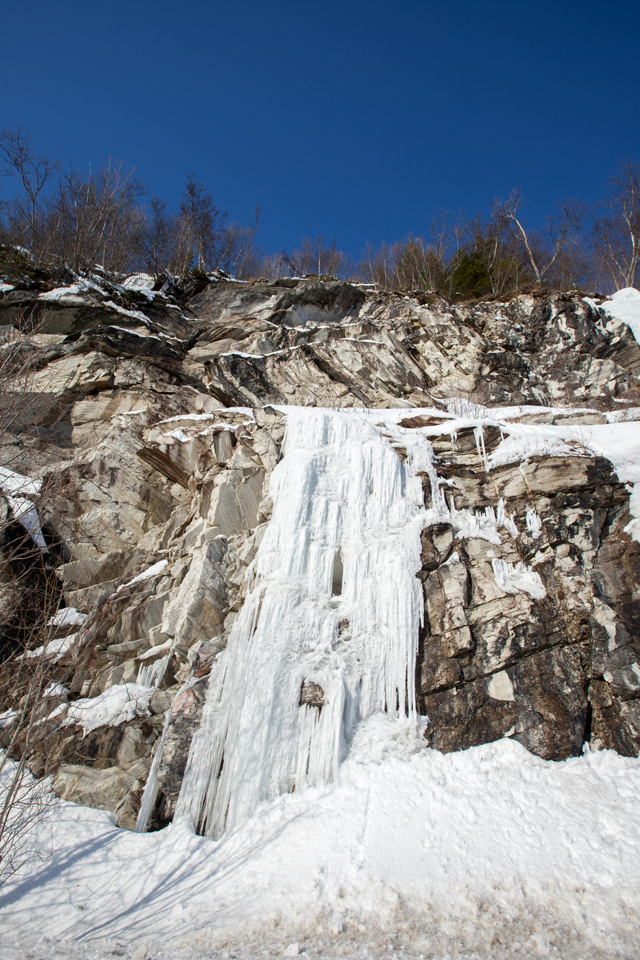 frozen waterfall down the mountains...
