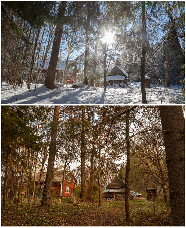 back to Fredrik&Karen's place in Sweden. Same place but big difference between winter and spring