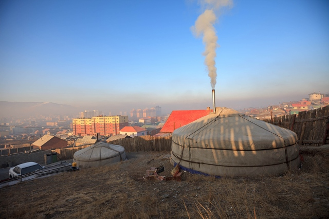 Overlooking the Ulaanbaatar city centre from the ger
