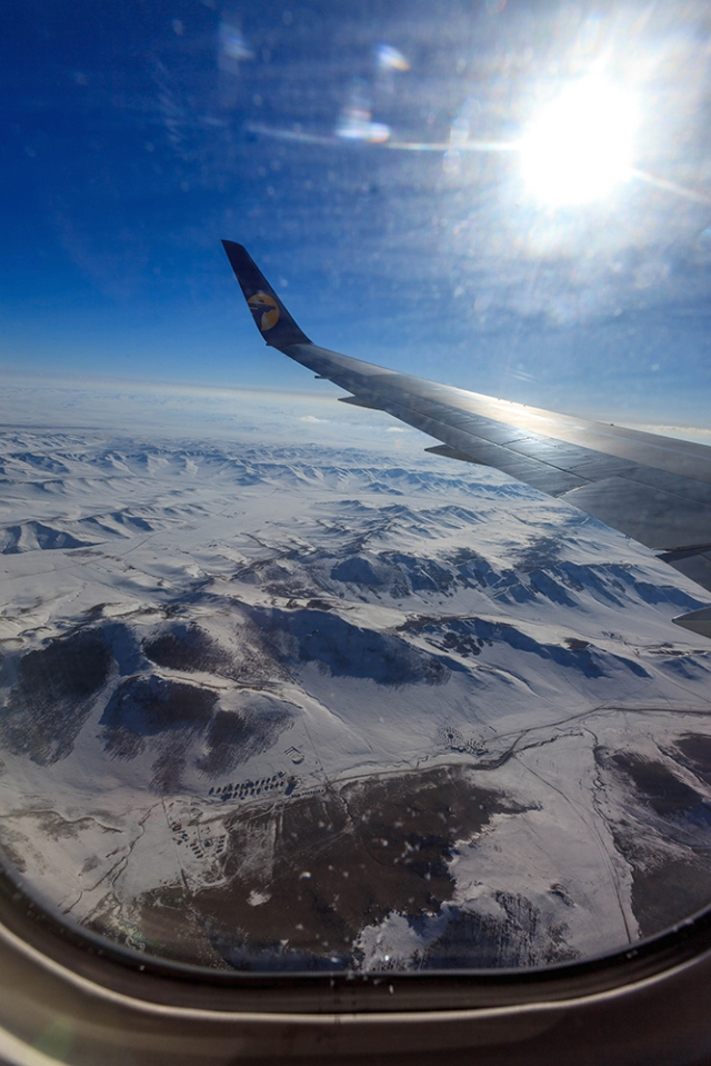 The look of the Gobi Desert from the plane window