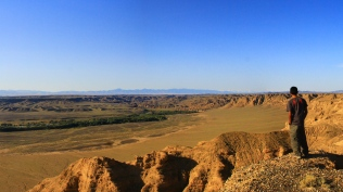 Watching the view of the steppe of Kazakhstan