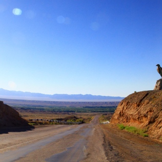 Road towards Almaty along the steppe
