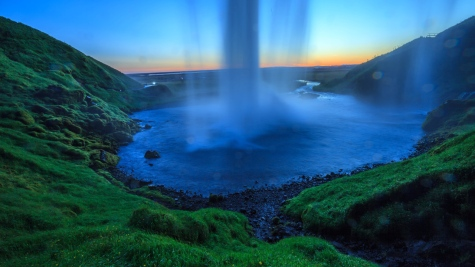 Seljalandsfoss after the sunset