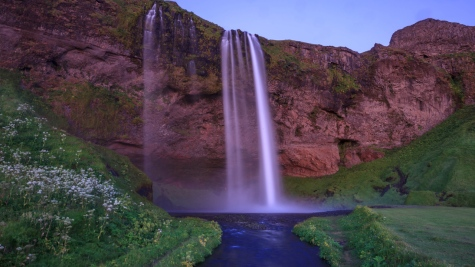 Seljalandsfoss under the colours of Midnight Sun