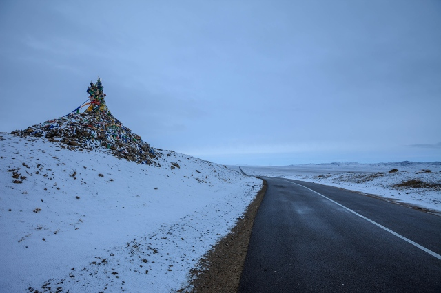 the road to Karakorum. thats the shaman prayerflags on the left...