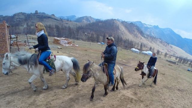 enjoying some horse riding trip