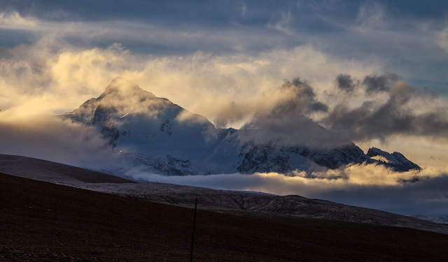 beautiful morning light shining through clouds in the Pamir