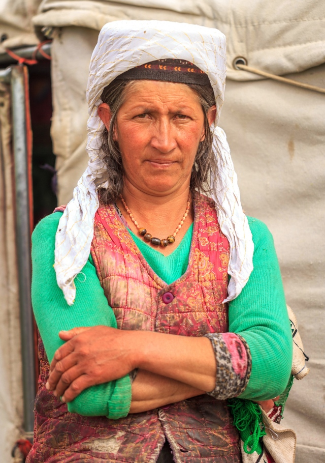 a very serious looking Tajik mama!