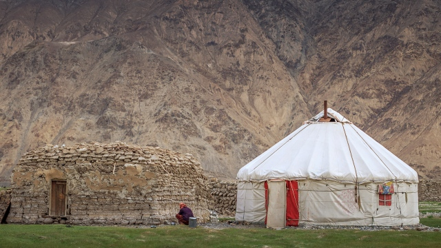 a Tajik yurt, not much different than the Kyrgyz one, or even the Kazakh