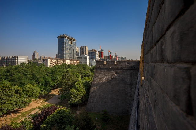 overlooking the city of Xi'an from the ancient wall
