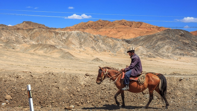 Kyrgyz horseman at the end of China, some 20km from the Kyrgyz border