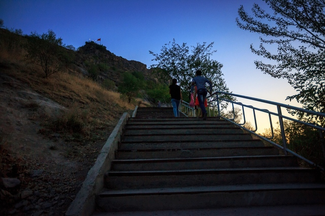 the stairs towards the peak of the mountain
