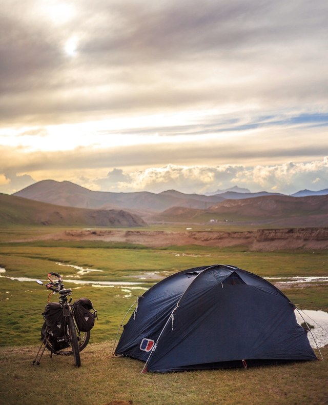 beautiful camping spot in the Kyrgyz grassland