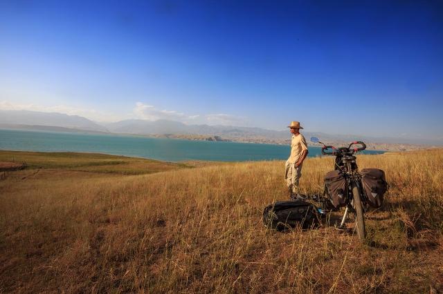 never get bored enjoying the nature, in a reservoir near Toktogul