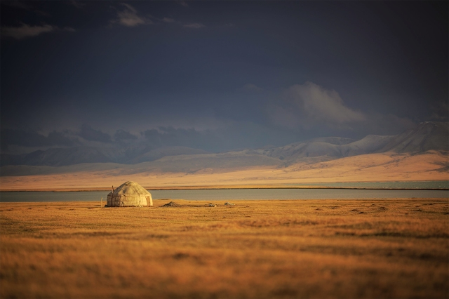 incredible lighting before sunset in Song Kul lake