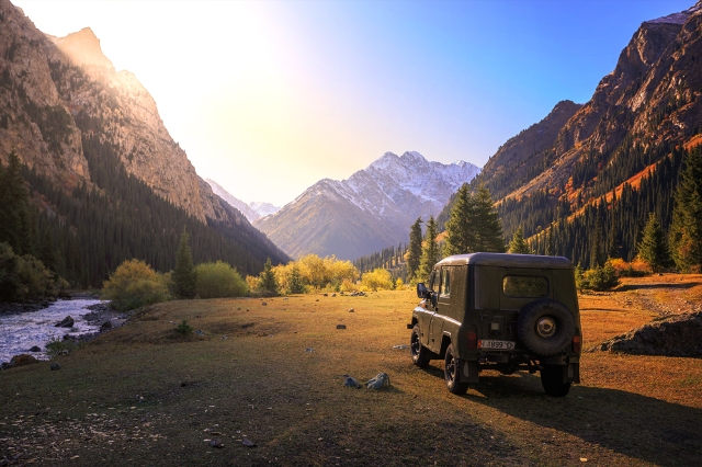 Tien Shan Mountains and a tough Russian jeep