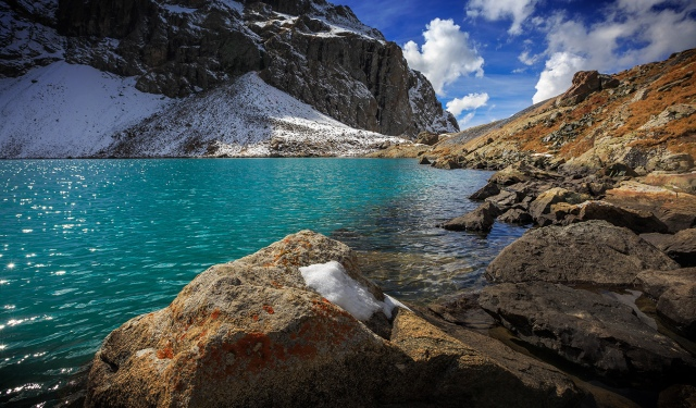 clear water of Alakol lake