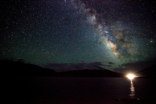 Milky way standing proudly above Karakul Lake, Xinjiang
