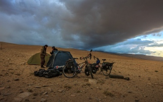 pitching our tent in the Pamir