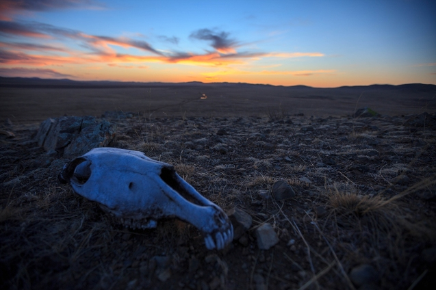quiet sunset after a deadly storm in the desolated Mongolian steppe
