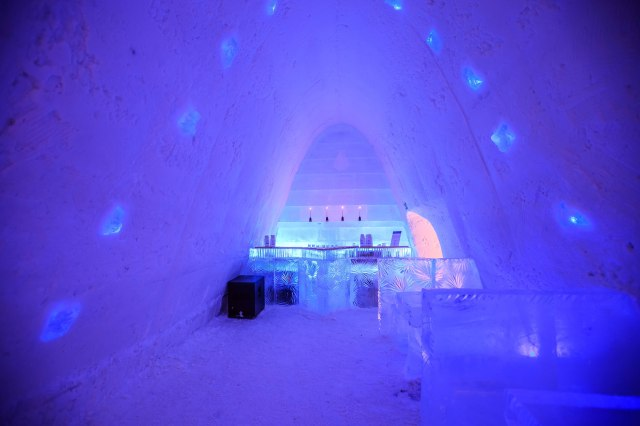 the bar inside the ice hotel. everything is made out of ice here
