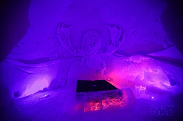 cant remember which room I slept but this is one of the room in the Ice hotel we stayed