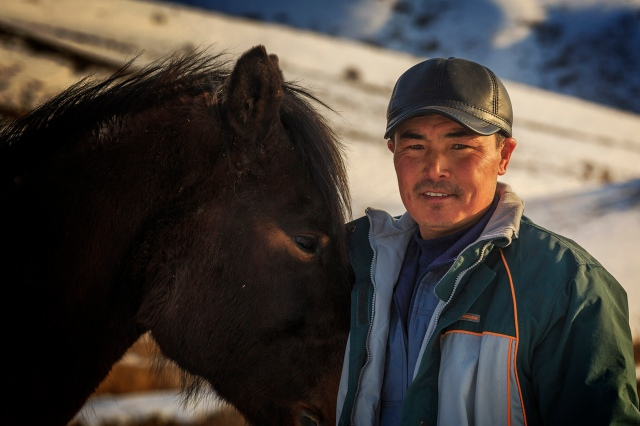 Almaz with his horse in the Tien Shan mountains