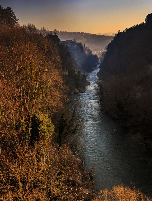 the view of Pliva river from the bridge near Jajce. It is.... awesome!!