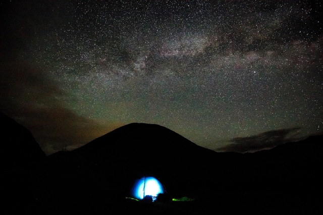 sleeping under the celestial lights near Tosor pass